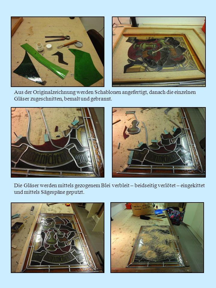 Aus der Originalzeichnung werden Schablonen angefertigt, danach die einzelnen Gläser zugeschnitten, bemalt und gebrannt. Die Gläser werden mittels gez