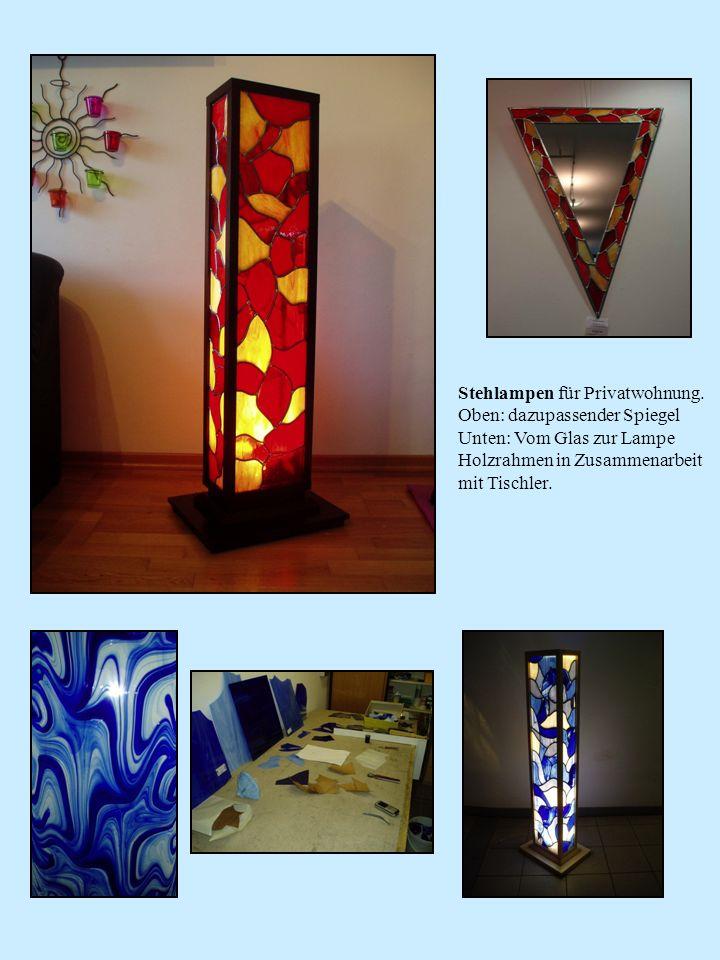 Stehlampen für Privatwohnung. Oben: dazupassender Spiegel Unten: Vom Glas zur Lampe Holzrahmen in Zusammenarbeit mit Tischler.