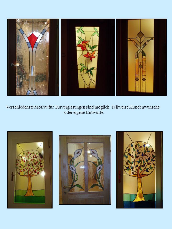 Verschiedenste Motive für Türverglasungen sind möglich. Teilweise Kundenwünsche oder eigene Entwürfe.