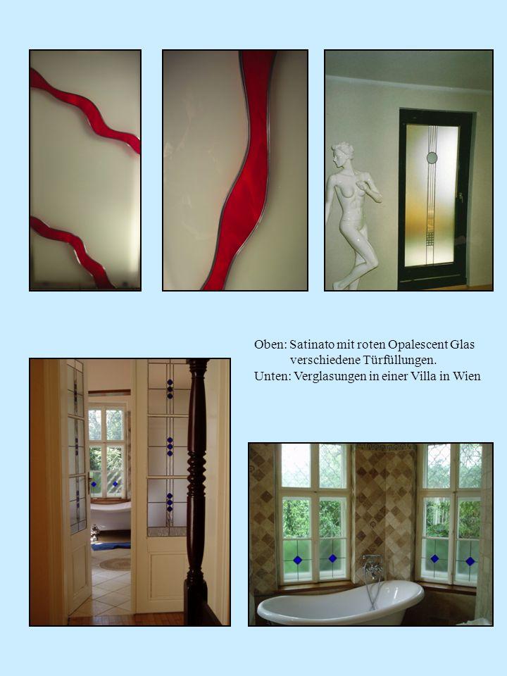 Oben: Satinato mit roten Opalescent Glas verschiedene Türfüllungen. Unten: Verglasungen in einer Villa in Wien
