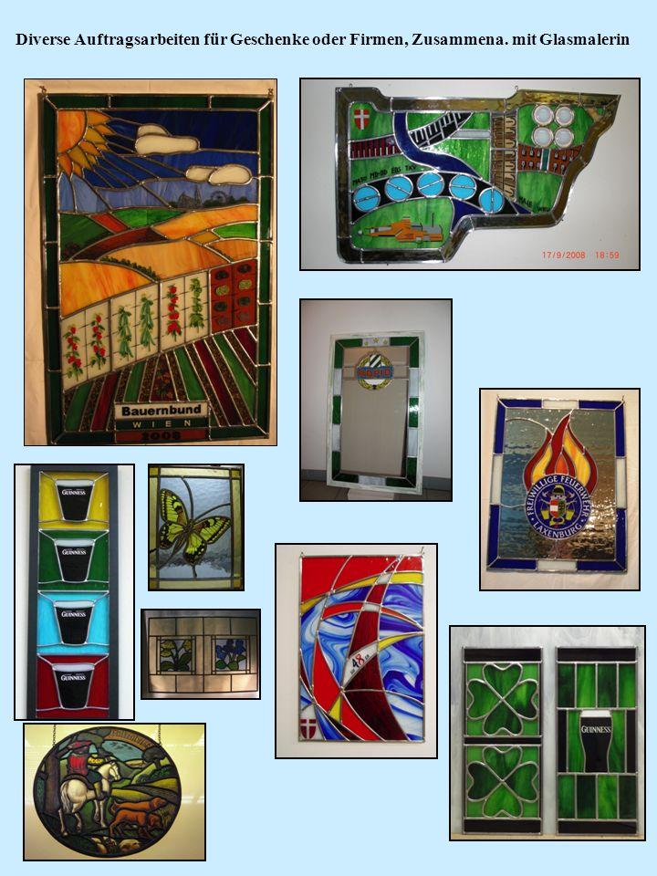 Diverse Auftragsarbeiten für Geschenke oder Firmen, Zusammena. mit Glasmalerin