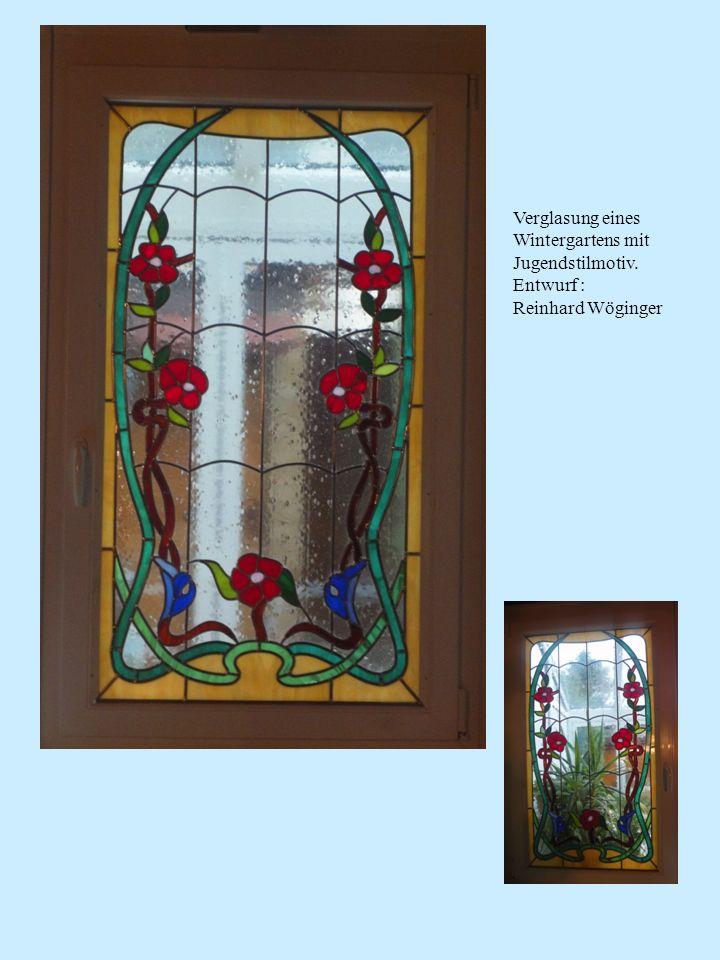 Verglasung eines Wintergartens mit Jugendstilmotiv. Entwurf : Reinhard Wöginger