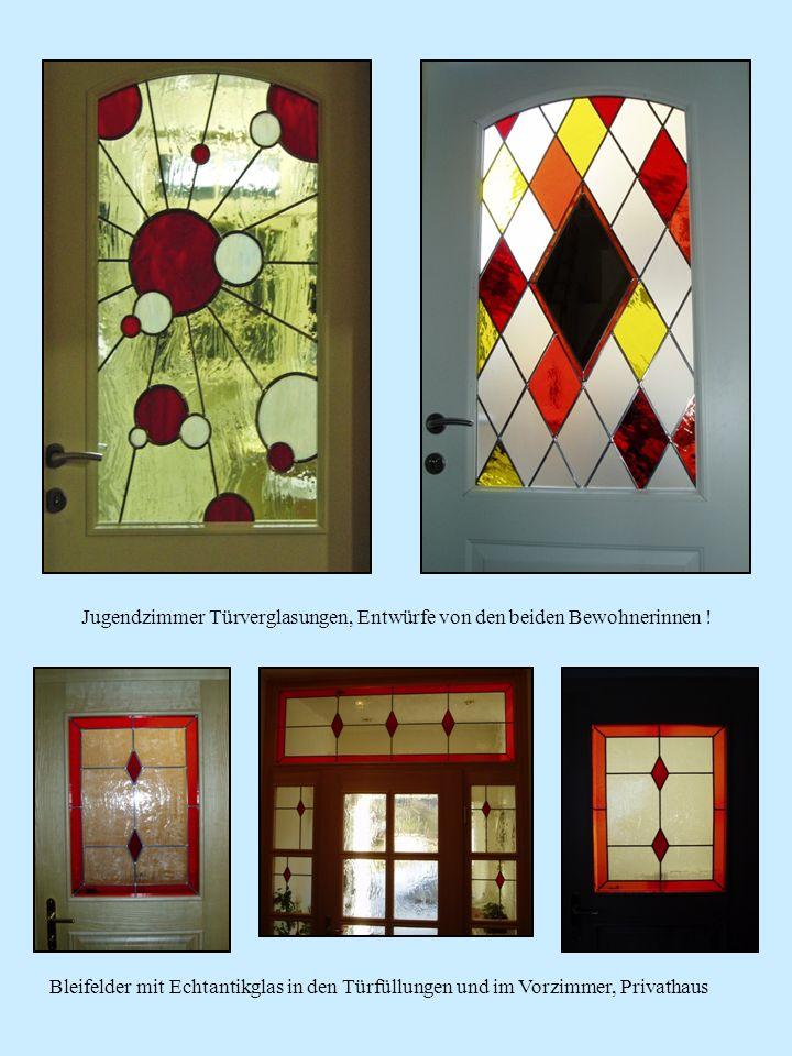 Jugendzimmer Türverglasungen, Entwürfe von den beiden Bewohnerinnen ! Bleifelder mit Echtantikglas in den Türfüllungen und im Vorzimmer, Privathaus