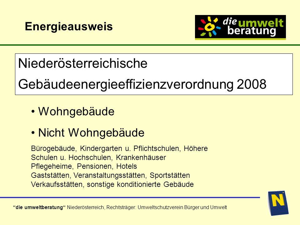 die umweltberatung Niederösterreich, Rechtsträger: Umweltschutzverein Bürger und Umwelt Wohngebäude Nicht Wohngebäude Bürogebäude, Kindergarten u.
