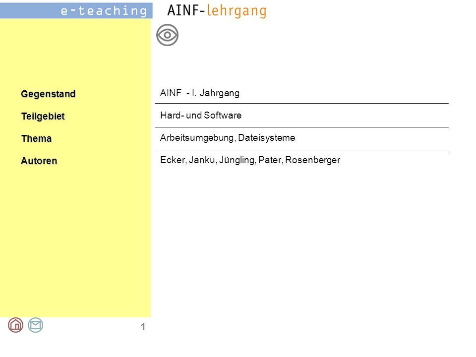 GegenstandTeilgebietThemaAutoren 1 AINF - I.