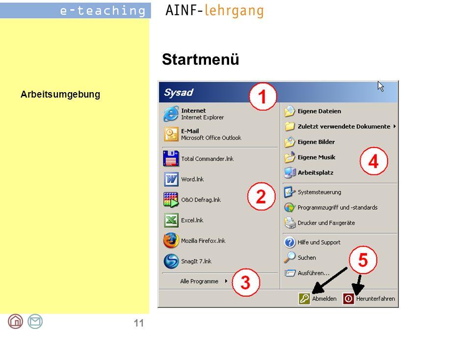 Arbeitsumgebung 11 Startmenü