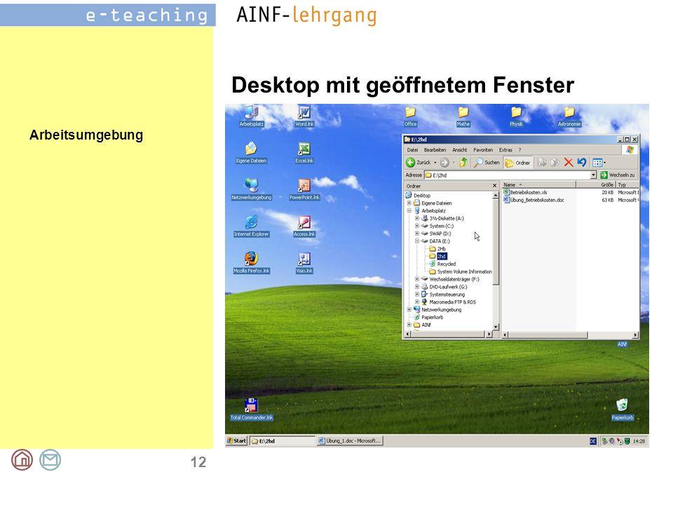Arbeitsumgebung 12 Desktop mit geöffnetem Fenster