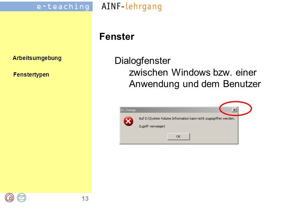Arbeitsumgebung 13 Fenster Dialogfenster zwischen Windows bzw.