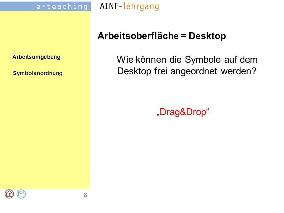 Arbeitsumgebung 9 Arbeitsoberfläche = Desktop Drag&Drop Objekt verschieben Objekt kopieren +Strg-Taste Objekt verknüpfen +Strg+Shift-Taste Drag&Drop