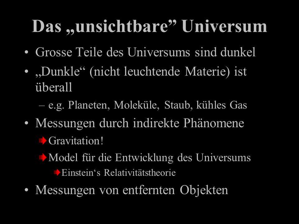 Das unsichtbare Universum Grosse Teile des Universums sind dunkel Dunkle (nicht leuchtende Materie) ist überall –e.g. Planeten, Moleküle, Staub, kühle