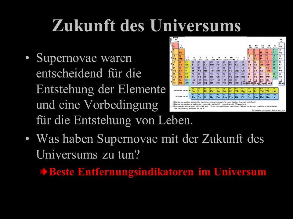Zukunft des Universums Supernovae waren entscheidend für die Entstehung der Elemente und eine Vorbedingung für die Entstehung von Leben. Was haben Sup