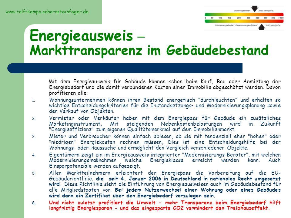 Aussehen, Bilder des Energieausweises Ausweisung des Energiebedarfs www.ralf-kampa.schornsteinfeger.de