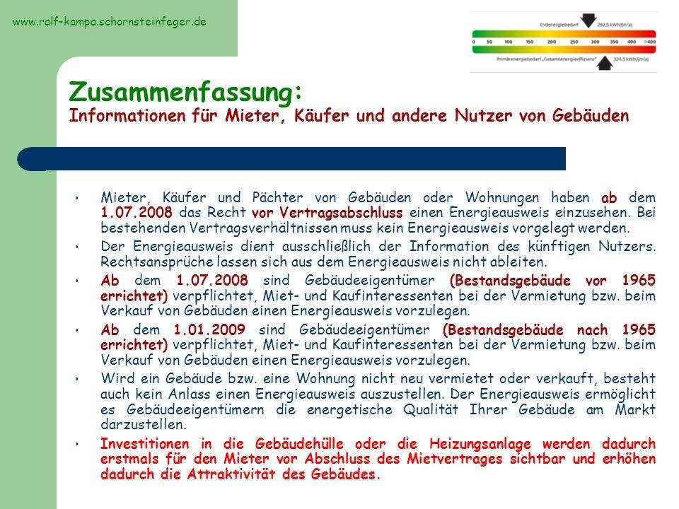 Beispielbilder Energieberatung Einsparung durch Sanierungsvariante gegenüber IST- Zustand www.ralf-kampa.schornsteinfeger.de