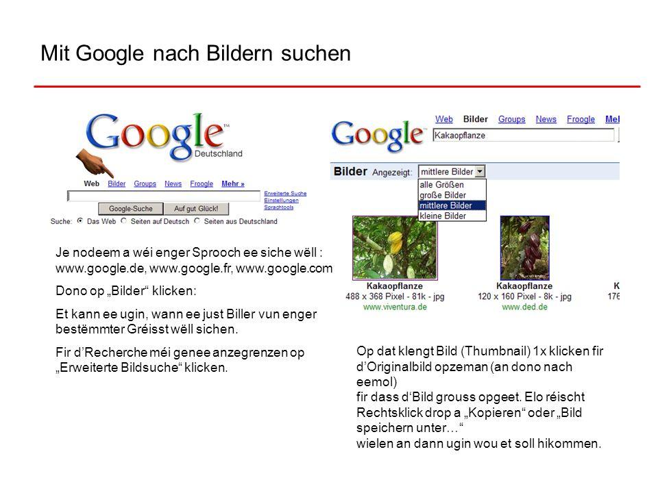 Mit Google nach Bildern suchen Je nodeem a wéi enger Sprooch ee siche wëll : www.google.de, www.google.fr, www.google.com Dono op Bilder klicken: Et k