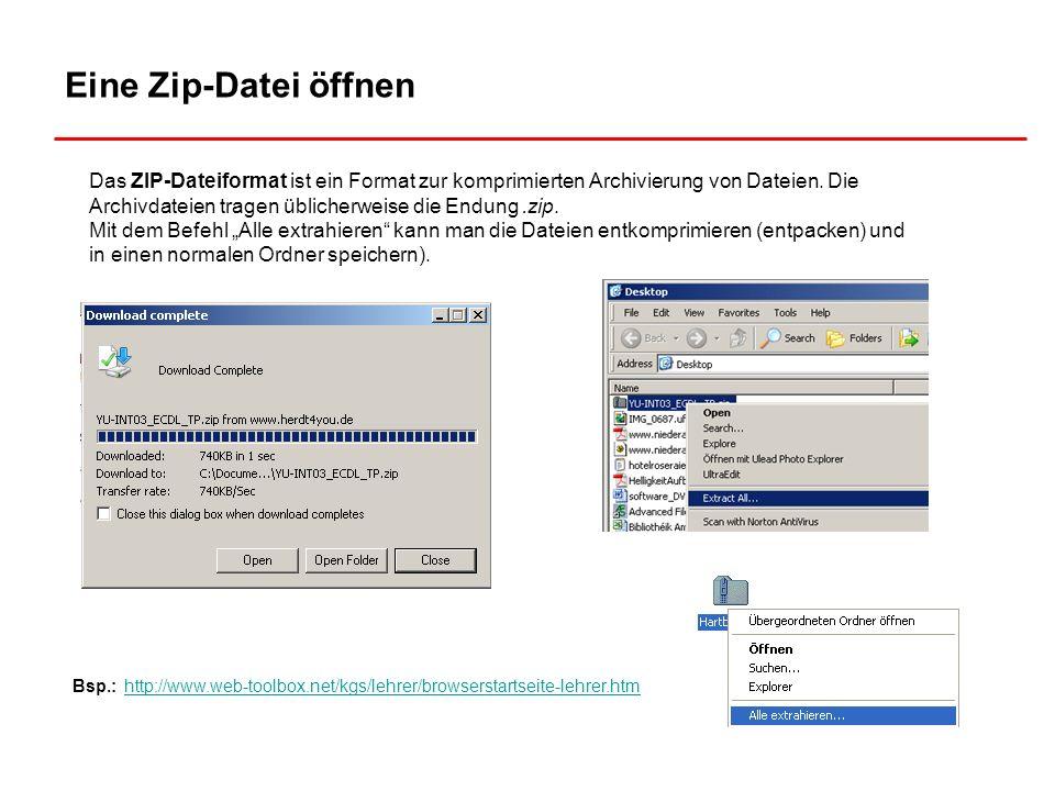 Eine Zip-Datei öffnen Das ZIP-Dateiformat ist ein Format zur komprimierten Archivierung von Dateien. Die Archivdateien tragen üblicherweise die Endung