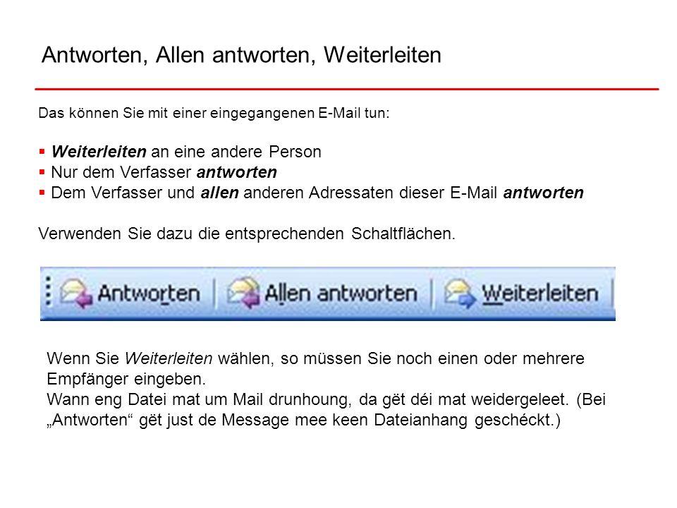 Antworten, Allen antworten, Weiterleiten Das können Sie mit einer eingegangenen E-Mail tun: Weiterleiten an eine andere Person Nur dem Verfasser antwo