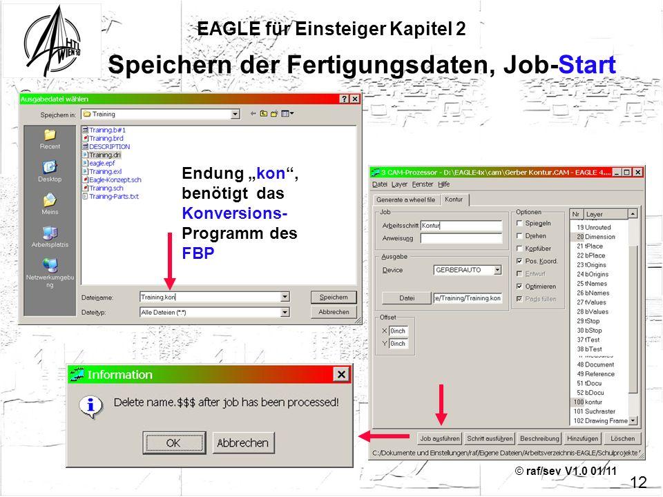© raf/sev V1.0 01/11 EAGLE für Einsteiger Kapitel 2 12 Speichern der Fertigungsdaten, Job-Start Endung kon, benötigt das Konversions- Programm des FBP