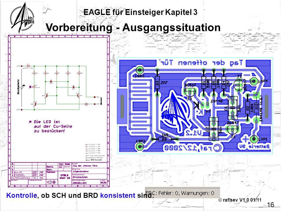 © raf/sev V1.0 01/11 EAGLE für Einsteiger Kapitel 3 16 Vorbereitung - Ausgangssituation Kontrolle, ob SCH und BRD konsistent sind: