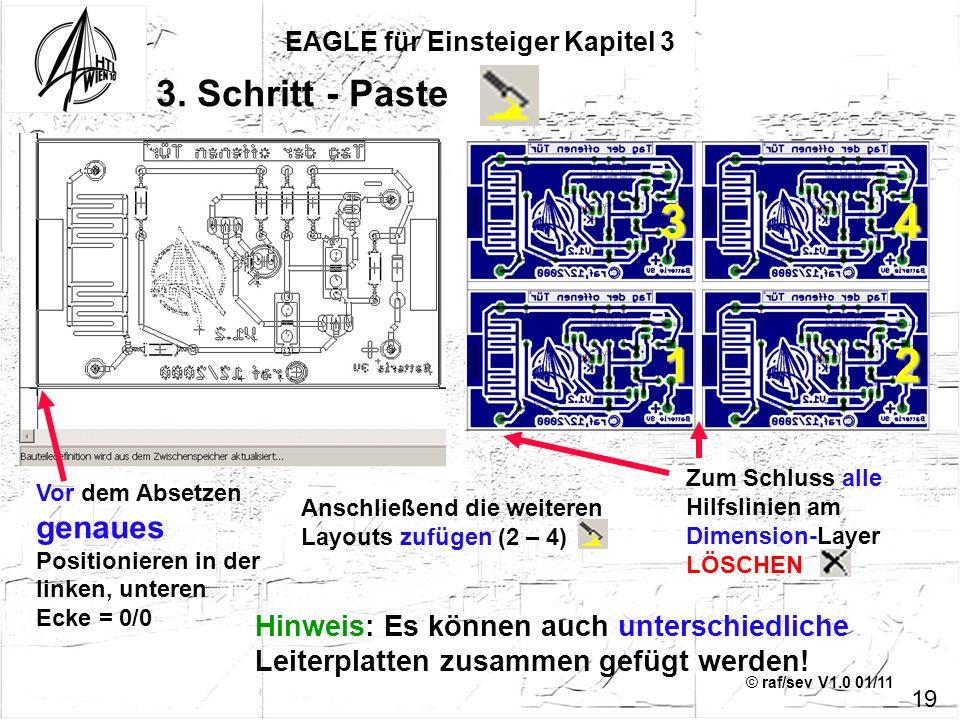 © raf/sev V1.0 01/11 EAGLE für Einsteiger Kapitel 3 19 3. Schritt - Paste Vor dem Absetzen genaues Positionieren in der linken, unteren Ecke = 0/0 Zum