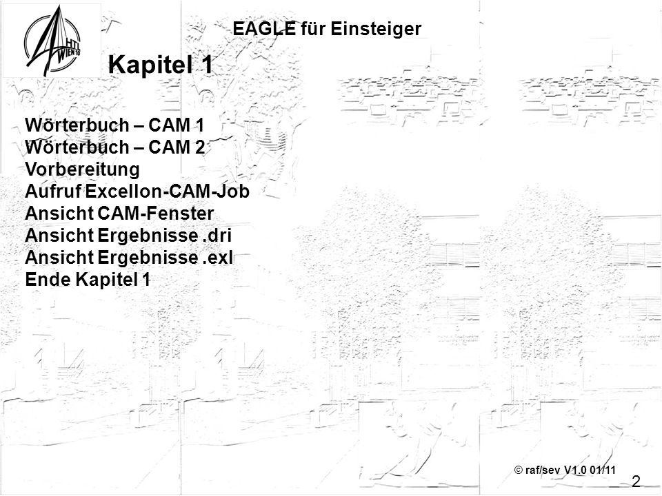 © raf/sev V1.0 01/11 EAGLE für Einsteiger 2 Kapitel 1 Wörterbuch – CAM 1 Wörterbuch – CAM 2 Vorbereitung Aufruf Excellon-CAM-Job Ansicht CAM-Fenster A