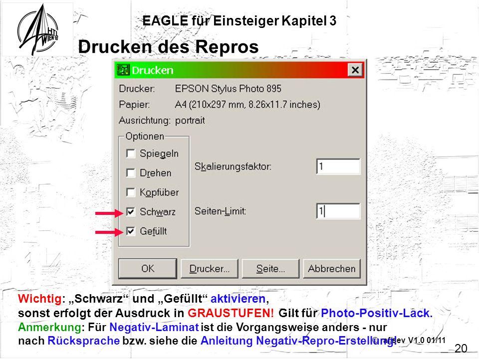 © raf/sev V1.0 01/11 EAGLE für Einsteiger Kapitel 3 20 Drucken des Repros Wichtig: Schwarz und Gefüllt aktivieren, sonst erfolgt der Ausdruck in GRAUS