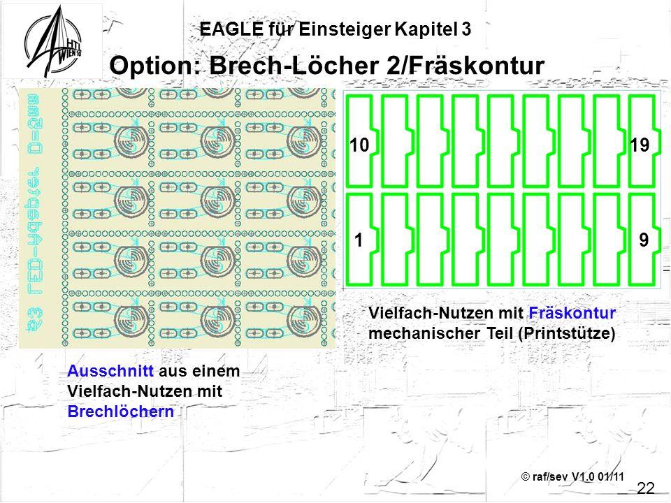 © raf/sev V1.0 01/11 EAGLE für Einsteiger Kapitel 3 22 Option: Brech-Löcher 2/Fräskontur Ausschnitt aus einem Vielfach-Nutzen mit Brechlöchern Vielfac