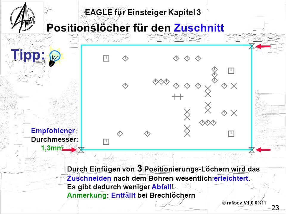 © raf/sev V1.0 01/11 Empfohlener Durchmesser: 1,3mm EAGLE für Einsteiger Kapitel 3 23 Positionslöcher für den Zuschnitt Durch Einfügen von 3 Positioni