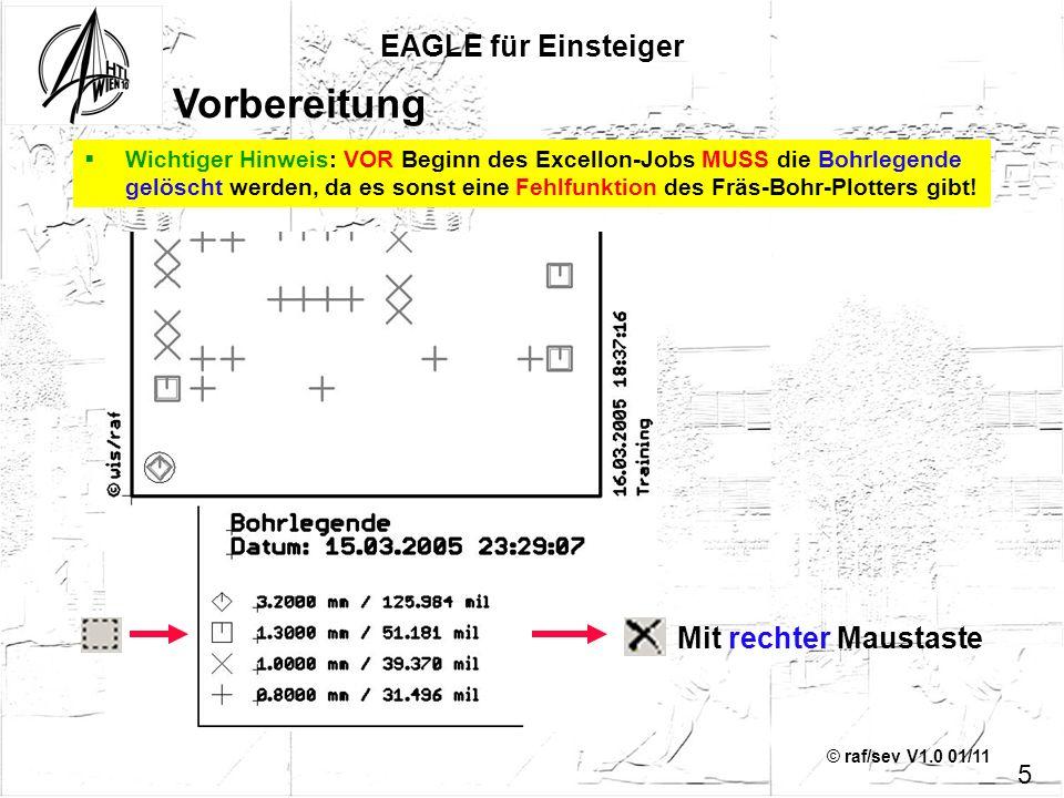 © raf/sev V1.0 01/11 Wichtiger Hinweis: VOR Beginn des Excellon-Jobs MUSS die Bohrlegende gelöscht werden, da es sonst eine Fehlfunktion des Fräs-Bohr