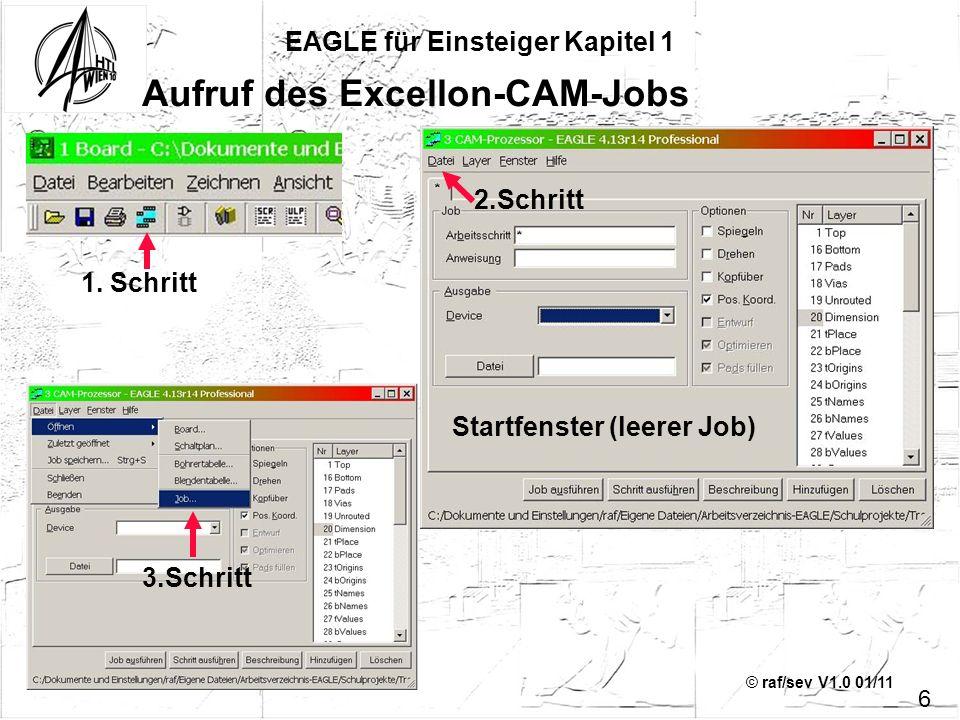 © raf/sev V1.0 01/11 EAGLE für Einsteiger Kapitel 1 Aufruf des Excellon-CAM-Jobs 6 3.Schritt 1. Schritt 2.Schritt Startfenster (leerer Job)