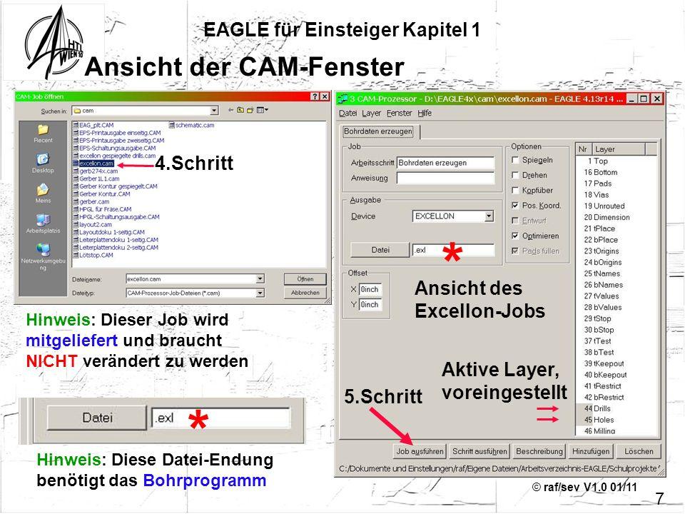 © raf/sev V1.0 01/11 Ansicht der CAM-Fenster EAGLE für Einsteiger Kapitel 1 7 Ansicht des Excellon-Jobs Aktive Layer, voreingestellt Hinweis: Dieser J