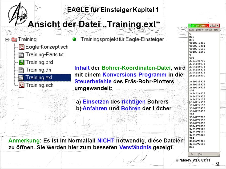 © raf/sev V1.0 01/11 Ansicht der Datei Training.exl EAGLE für Einsteiger Kapitel 1 9 Inhalt der Bohrer-Koordinaten-Datei, wird mit einem Konversions-P