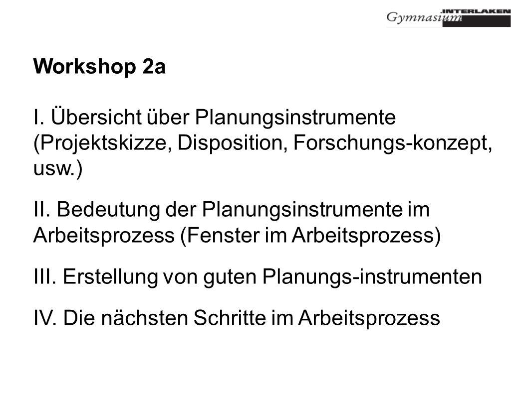 Workshop 2a Ich beschäftige mich nicht mit der Zukunft, sie kommt früh genug A. Einstein