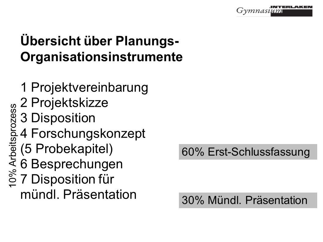 Übersicht über Planungs- Organisationsinstrumente 1 Projektvereinbarung 2 Projektskizze 3 Disposition 4 Forschungskonzept (5 Probekapitel) 6 Besprechungen 7 Disposition für mündl.