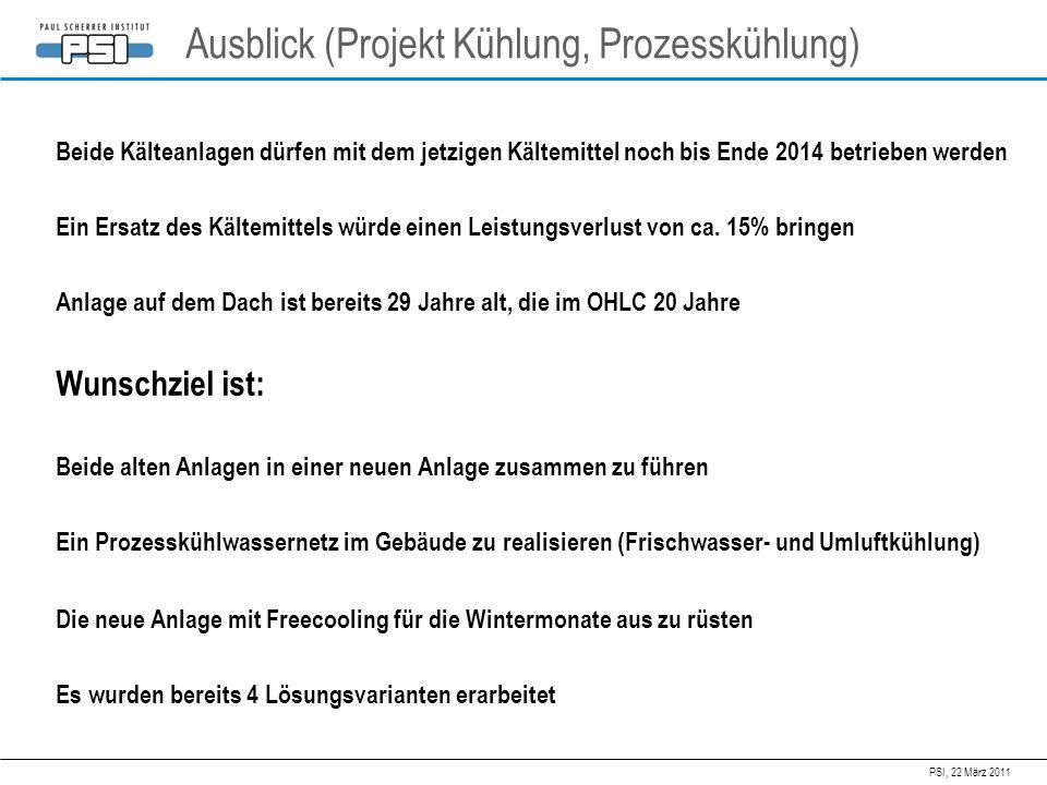 PSI, 22 März 2011 Ausblick (Projekt Kühlung, Prozesskühlung) Beide Kälteanlagen dürfen mit dem jetzigen Kältemittel noch bis Ende 2014 betrieben werde