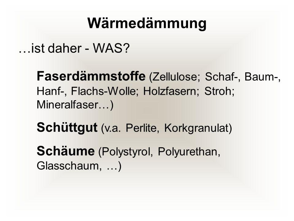 Wärmedämmung Faserdämmstoffe (Zellulose; Schaf-, Baum-, Hanf-, Flachs-Wolle; Holzfasern; Stroh; Mineralfaser…) Schüttgut (v.a. Perlite, Korkgranulat)