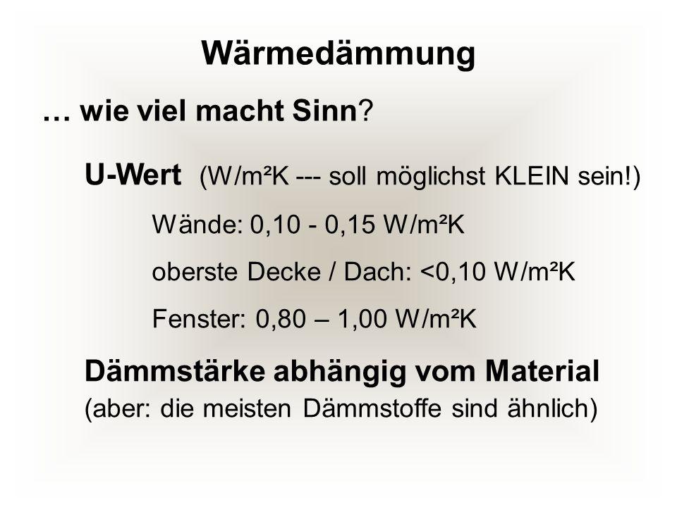 Wärmedämmung U-Wert (W/m²K --- soll möglichst KLEIN sein!) Wände: 0,10 - 0,15 W/m²K oberste Decke / Dach: <0,10 W/m²K Fenster: 0,80 – 1,00 W/m²K Dämms