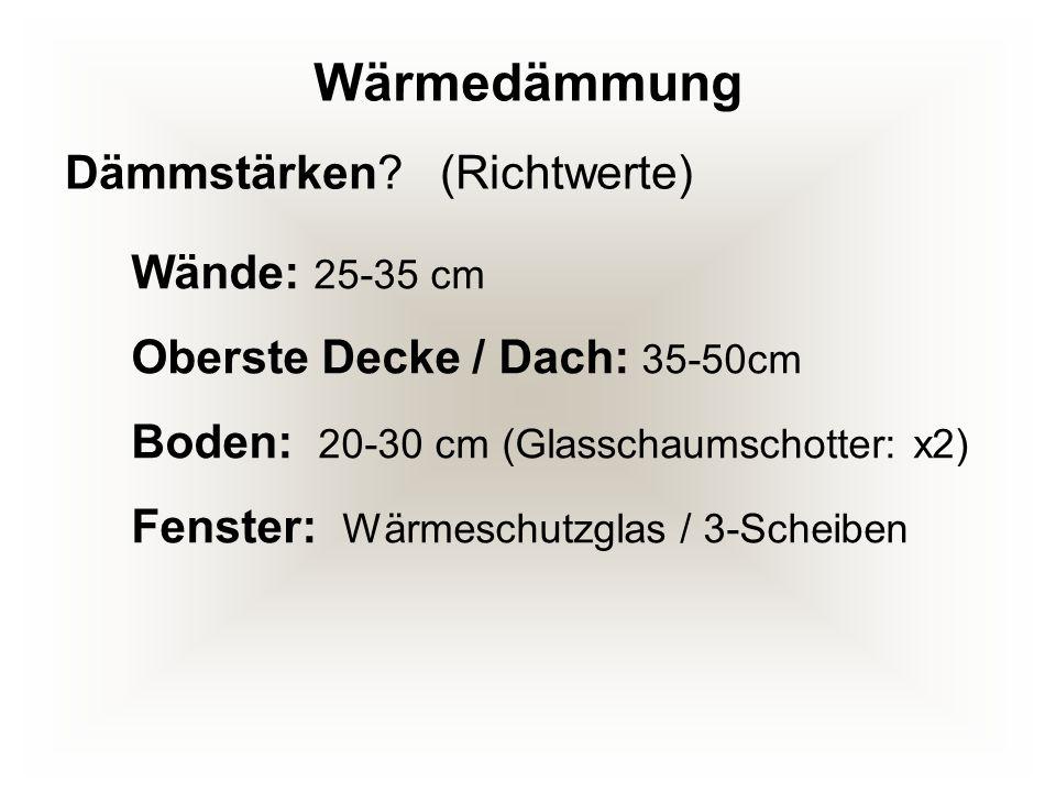 Wände: 25-35 cm Oberste Decke / Dach: 35-50cm Boden: 20-30 cm (Glasschaumschotter: x2) Fenster: Wärmeschutzglas / 3-Scheiben Dämmstärken? (Richtwerte)