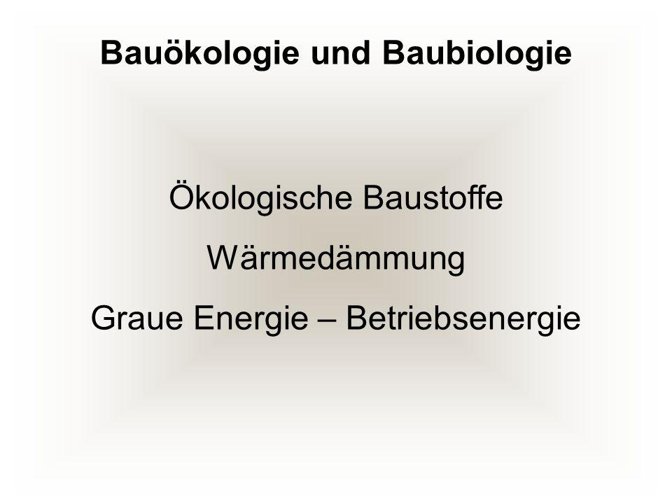 Bauökologie und Baubiologie Ökologische Baustoffe Wärmedämmung Graue Energie – Betriebsenergie
