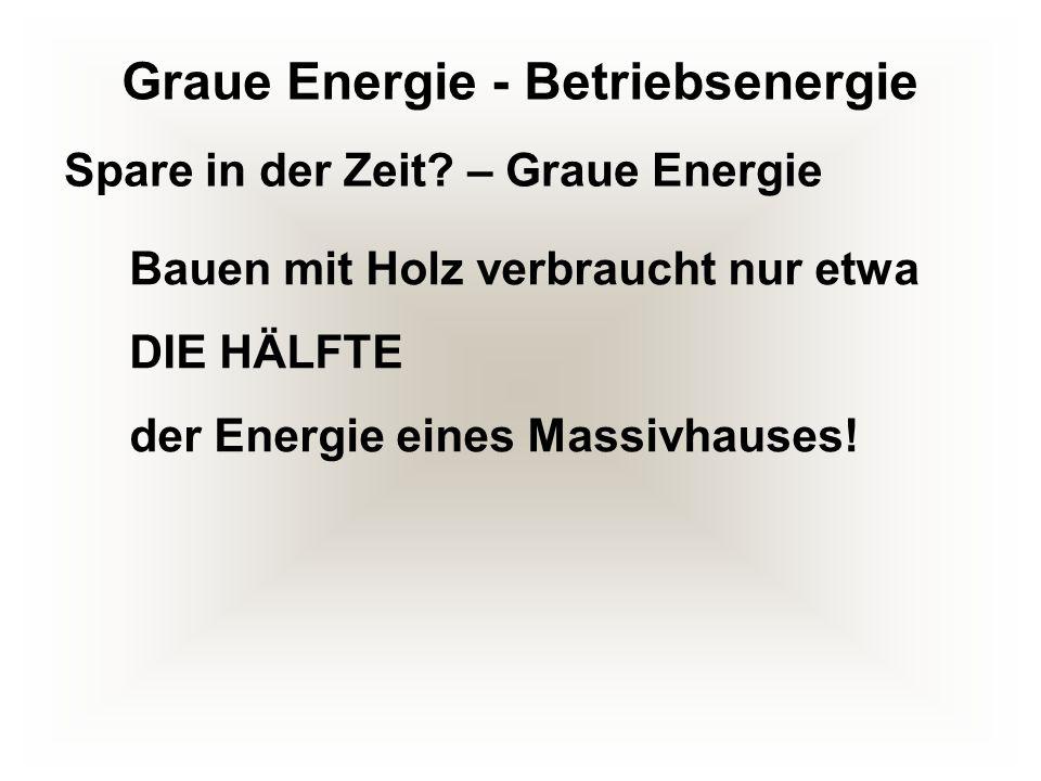 Graue Energie - Betriebsenergie Bauen mit Holz verbraucht nur etwa DIE HÄLFTE der Energie eines Massivhauses! Spare in der Zeit? – Graue Energie