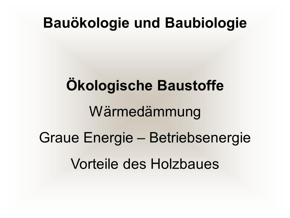 Ökologische Baustoffe Wärmedämmung Graue Energie – Betriebsenergie Vorteile des Holzbaues Bauökologie und Baubiologie