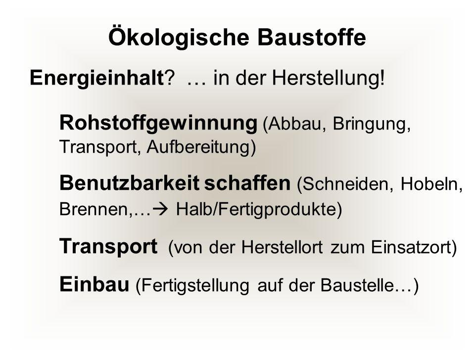 Ökologische Baustoffe Rohstoffgewinnung (Abbau, Bringung, Transport, Aufbereitung) Benutzbarkeit schaffen (Schneiden, Hobeln, Brennen,… Halb/Fertigpro