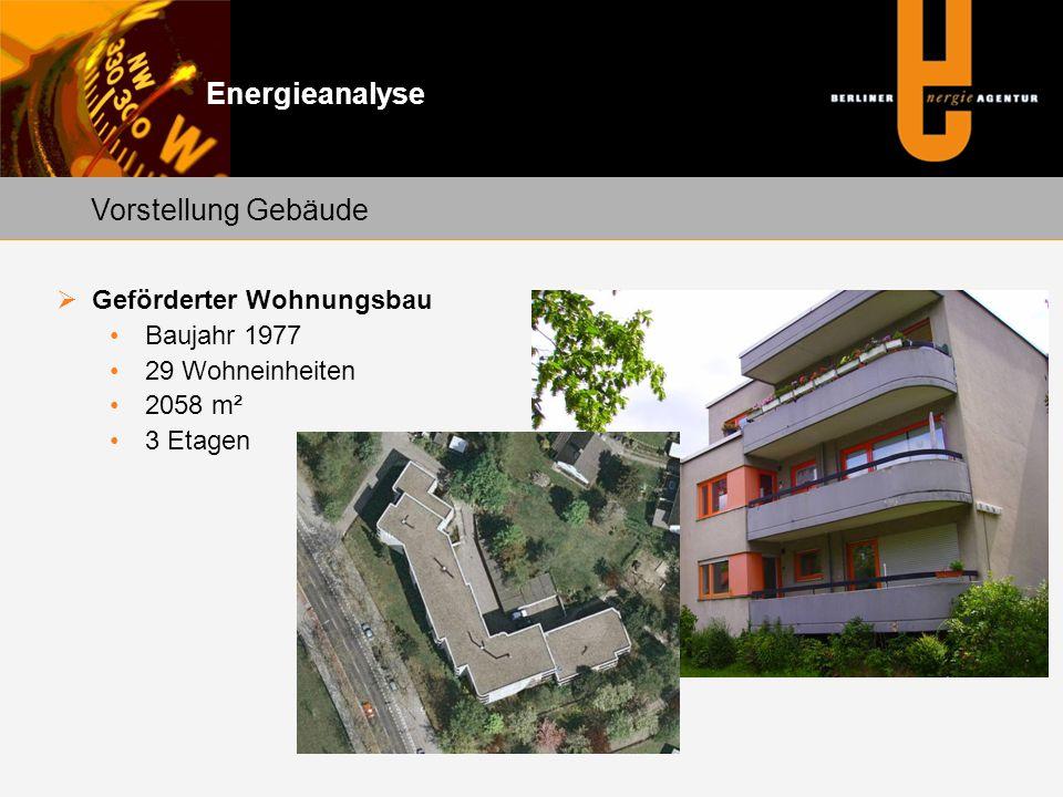 Energieanalyse Vorstellung Gebäude Geförderter Wohnungsbau Baujahr 1977 29 Wohneinheiten 2058 m² 3 Etagen