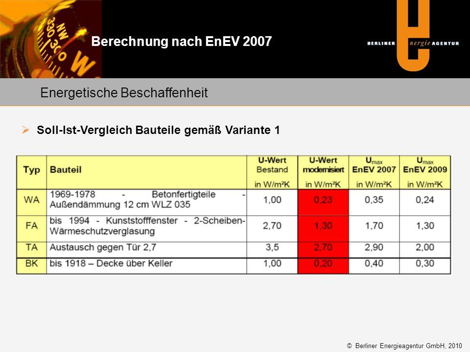 Energetische Beschaffenheit Soll-Ist-Vergleich Bauteile gemäß Variante 1 © Berliner Energieagentur GmbH, 2010