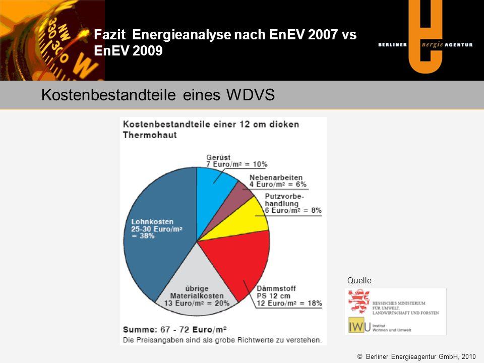 Kostenbestandteile eines WDVS Fazit Energieanalyse nach EnEV 2007 vs EnEV 2009 Quelle: © Berliner Energieagentur GmbH, 2010