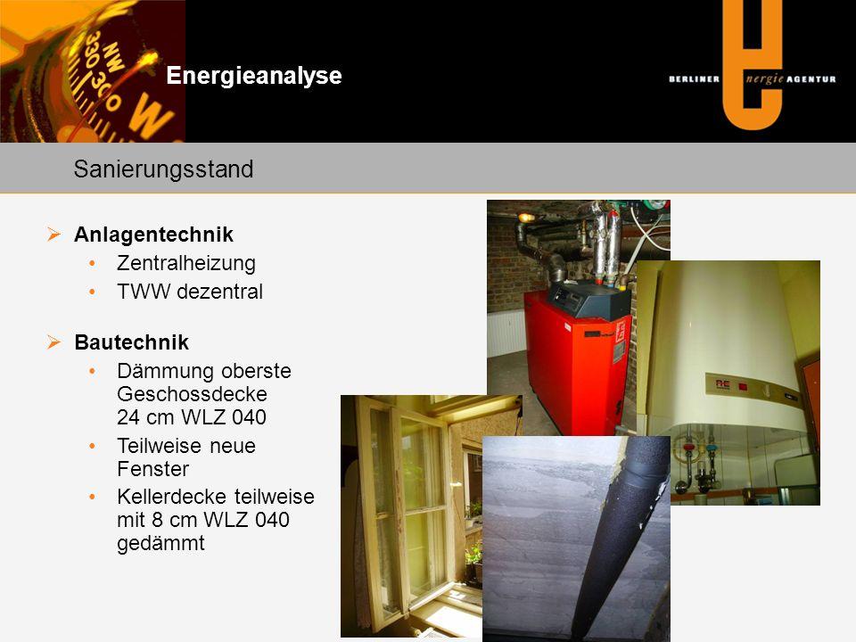 Energieanalyse Sanierungsstand Anlagentechnik Zentralheizung TWW dezentral Bautechnik Dämmung oberste Geschossdecke 24 cm WLZ 040 Teilweise neue Fenst
