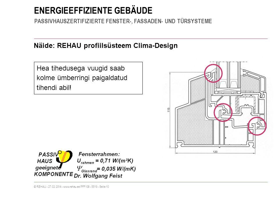 ENERGIEEFFIZIENTE GEBÄUDE PASSIVHAUSZERTIFIZIERTE FENSTER-, FASSADEN- UND TÜRSYSTEME © REHAU - 27.02.2014 - www.rehau.ee PFF109 - 5519 - Seite 10 Näide: REHAU profiilsüsteem Clima-Design Hea tihedusega vuugid saab kolme ümberringi paigaldatud tihendi abil!