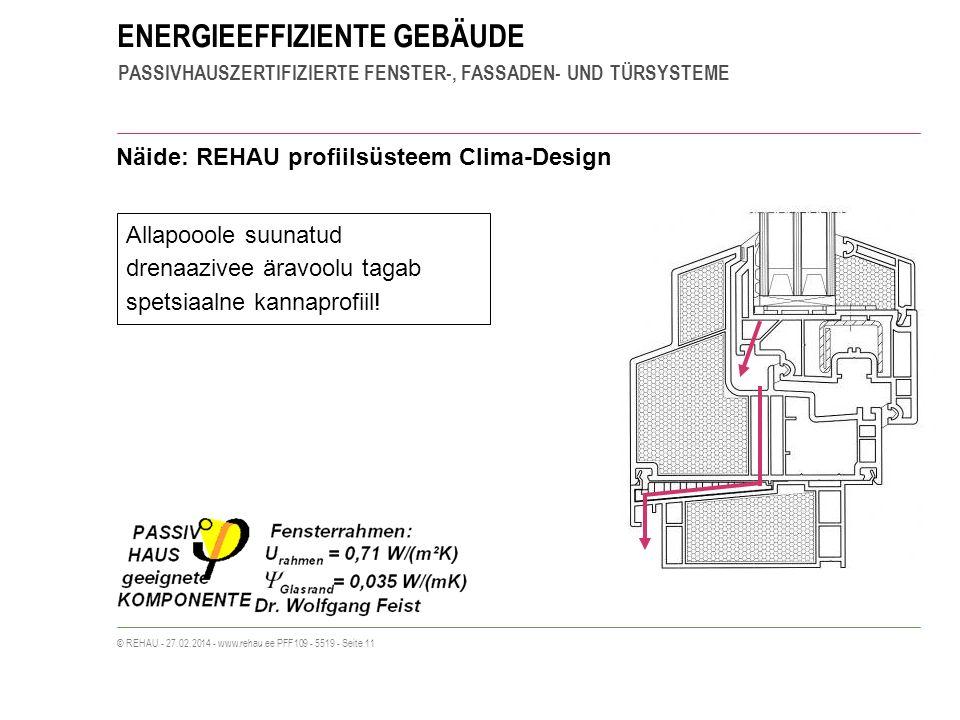 ENERGIEEFFIZIENTE GEBÄUDE PASSIVHAUSZERTIFIZIERTE FENSTER-, FASSADEN- UND TÜRSYSTEME © REHAU - 27.02.2014 - www.rehau.ee PFF109 - 5519 - Seite 11 Näide: REHAU profiilsüsteem Clima-Design Allapooole suunatud drenaazivee äravoolu tagab spetsiaalne kannaprofiil!