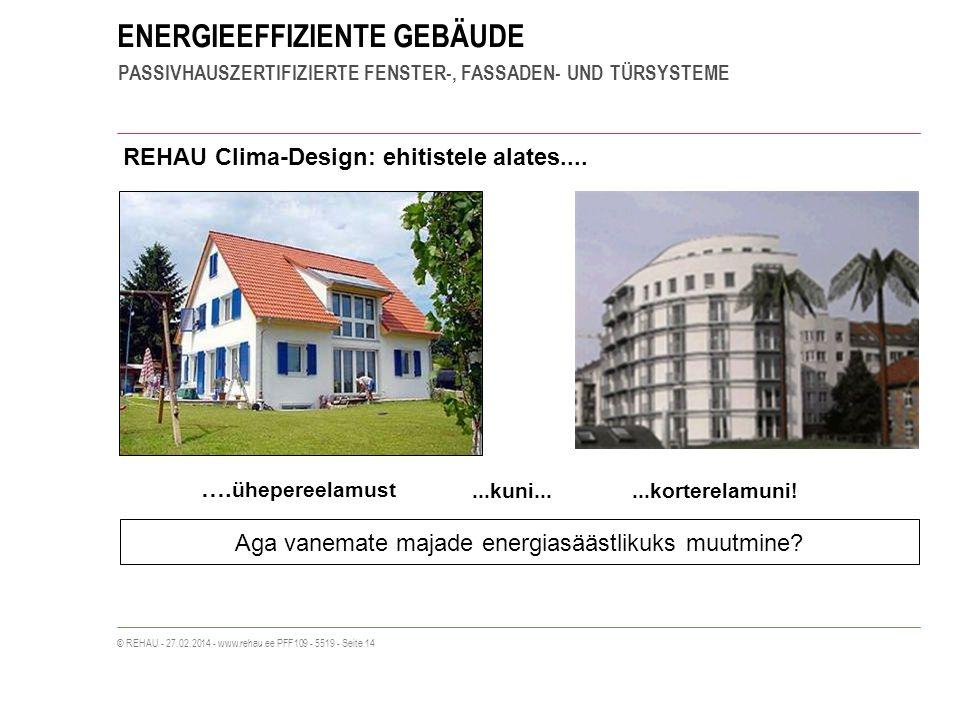 ENERGIEEFFIZIENTE GEBÄUDE PASSIVHAUSZERTIFIZIERTE FENSTER-, FASSADEN- UND TÜRSYSTEME © REHAU - 27.02.2014 - www.rehau.ee PFF109 - 5519 - Seite 14 REHAU Clima-Design: ehitistele alates....