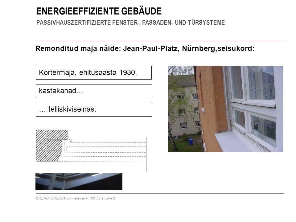 ENERGIEEFFIZIENTE GEBÄUDE PASSIVHAUSZERTIFIZIERTE FENSTER-, FASSADEN- UND TÜRSYSTEME © REHAU - 27.02.2014 - www.rehau.ee PFF109 - 5519 - Seite 15 Remonditud maja näide: Jean-Paul-Platz, Nürnberg,seisukord: Kortermaja, ehitusaasta 1930, kastakanad… … telliskiviseinas.