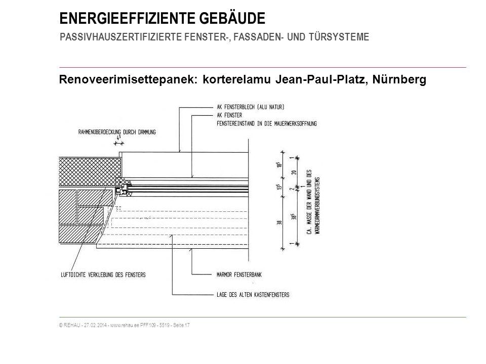 ENERGIEEFFIZIENTE GEBÄUDE PASSIVHAUSZERTIFIZIERTE FENSTER-, FASSADEN- UND TÜRSYSTEME © REHAU - 27.02.2014 - www.rehau.ee PFF109 - 5519 - Seite 17 Renoveerimisettepanek: korterelamu Jean-Paul-Platz, Nürnberg